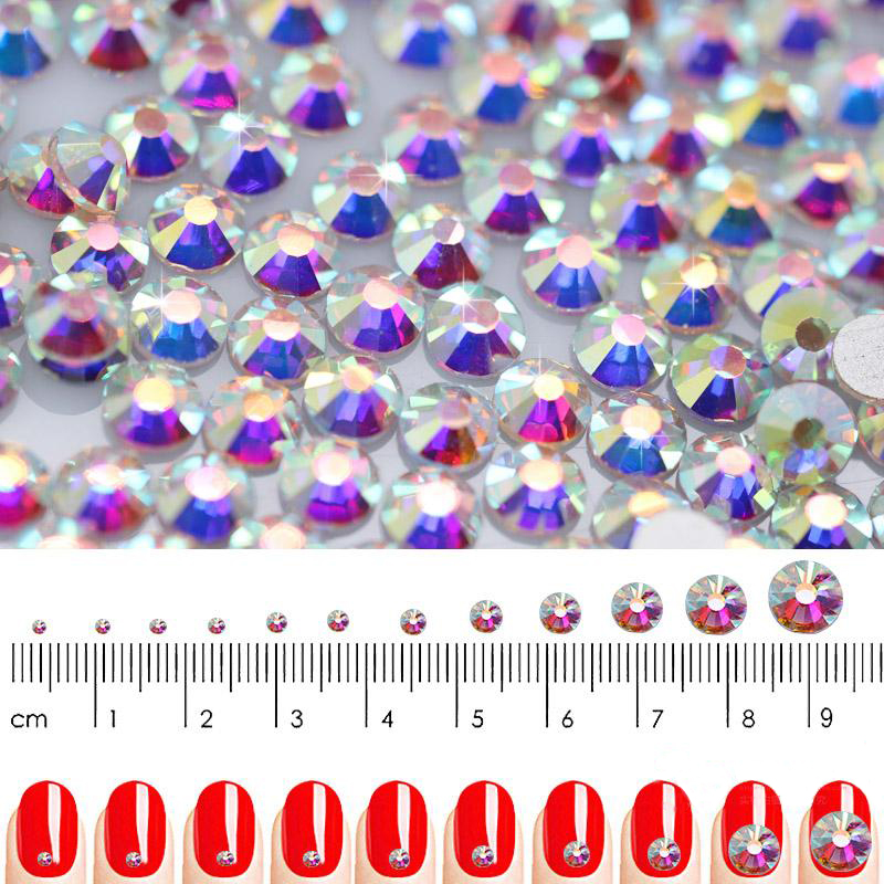 SS3-SS30 Super Glitter Crystal AB Accessories Flat Back Glass Chameleon Nail Rhinestones For Charms 3D Nails Art Decorations