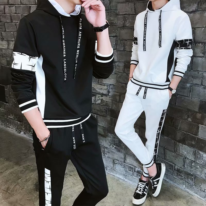 2019 Spring And Autumn New Style Men Casual Wear Set Korean-style Trend Hoodie Two-Piece Set Teenager Students Sports Clothing
