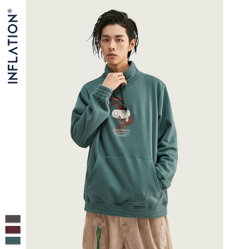 INFLATION Men High-collar Sweatshirt Pure-color With Printing Men's Sweatshirt With Pouch Pocket Loose Fit Mens Sweatshirt 9674W