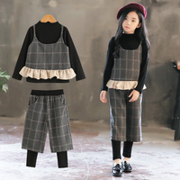 Girls Clothing 3 Piece Sets Spring Autumn Kids Vest+Bottoming Shirt +Fake 2 Piece Pants Girls Outfits Children Clothes 4 13T