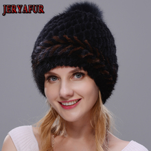 New Lovely Real Mink Fur Hat Women Winter Knitted Real Mink Fur Beanies Hats Fox Fur Pom Poms Thick Warm Real Mink Fur Cap cheap JERYAFUR Adult Leather Patchwork XBLDQ Skullies Beanies Casual BLACK gray