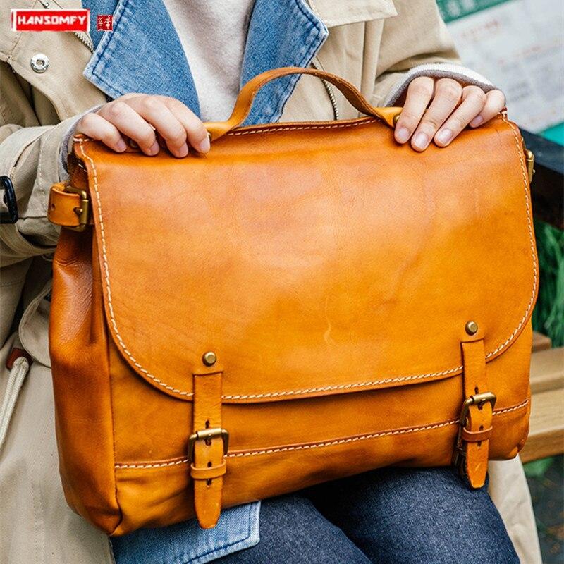 Sacs à main en cuir tanné végétal pour femme sac fourre-tout fait main sacoche pour ordinateur portable rétro en cuir véritable sacs à bandoulière Messenger