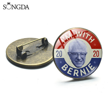 2020 Bernie Presidential Election Brooch Pin America President Round Glass Dome Brooch For Women Men Supporter Jewelry image