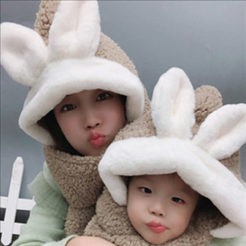 New Autumn And Winter Plush Parent-child Hat Cute Super Cute Rabbit Ears Lamb Hair Hat Scarf Gloves Three Piece Set