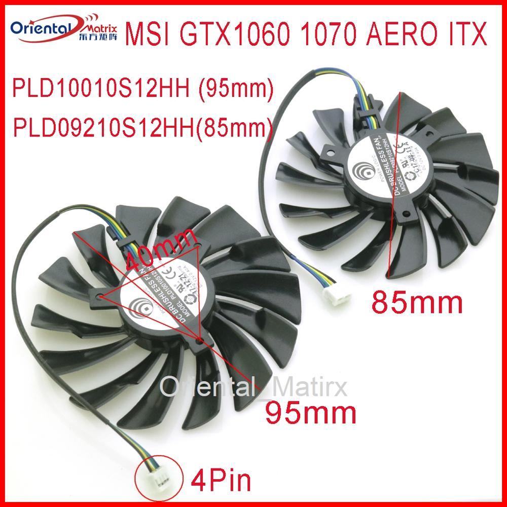 Frete grátis pld10010s12hh pld09210s12hh 12 v 0.40a 4pin para msi gtx1060 gtx1070 aero itx placa gráfica de vídeo cooler ventilador refrigeração