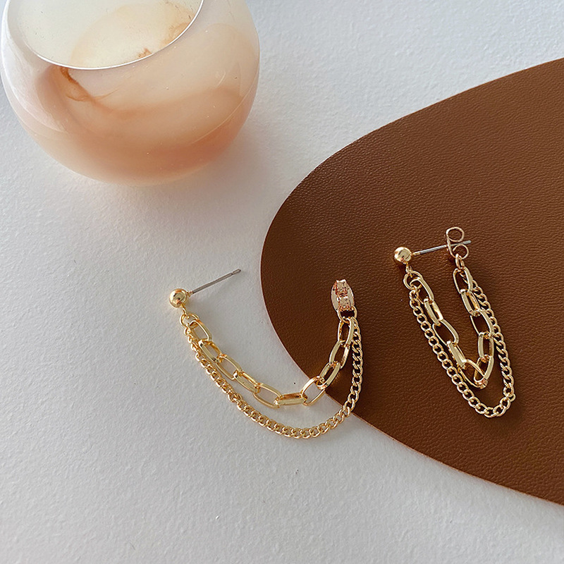 Vintage Gold Color Linked Chain Tassel Earrings for Women Female Metal Alloy Double Layered Drop Earrings Statement Jewelry Gift