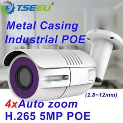 5mp h.265 2.8 12 12mm 4xzoom sony metal à prova dcompatiágua compatível com hikvision nvr dana app bala projeto câmera ip poe