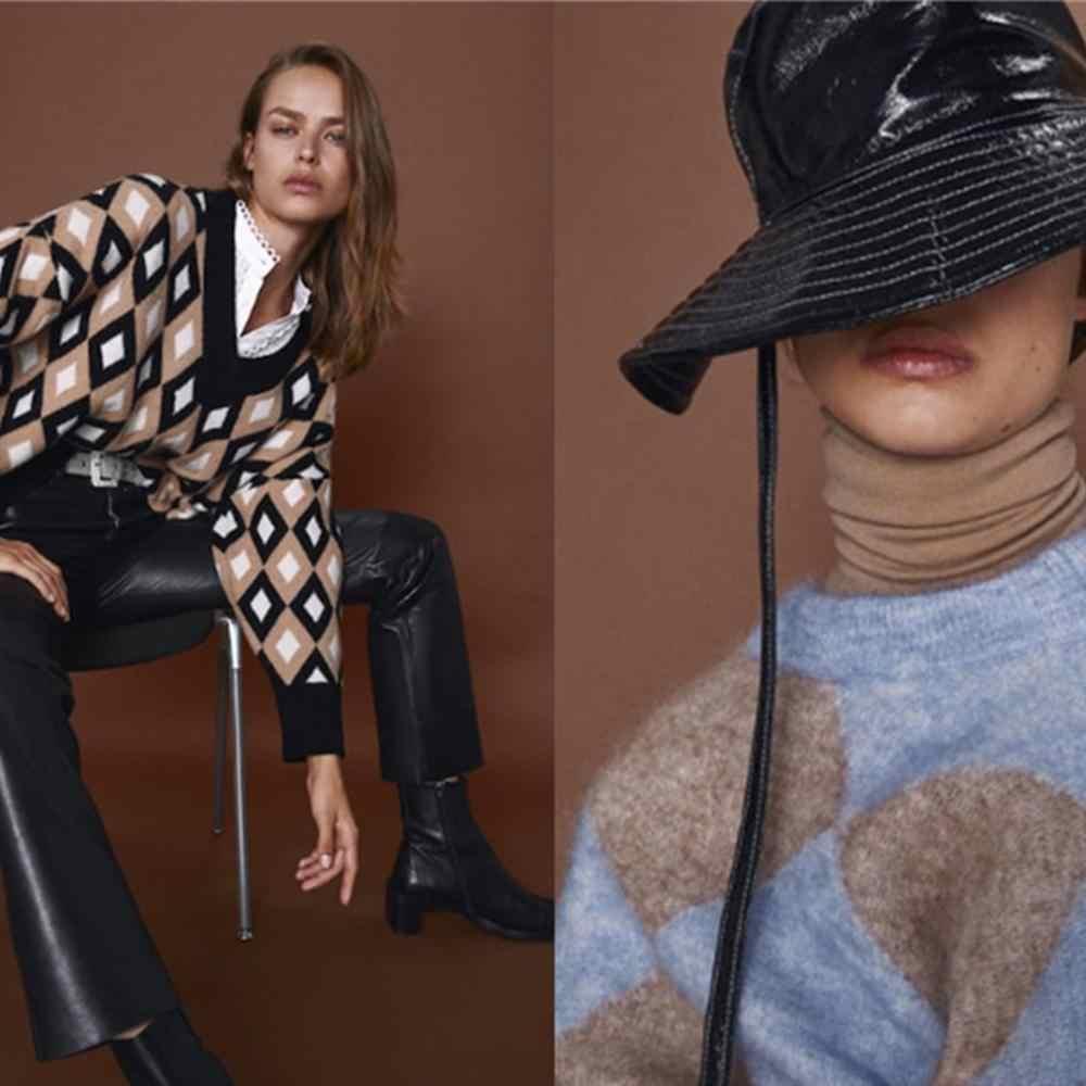 2019 za 여성 니트 스웨터 패션 새로운 겨울 다이아몬드 자카드 스웨터 보헤미안 긴 소매 라운드 칼라 느슨한 스웨터 파티