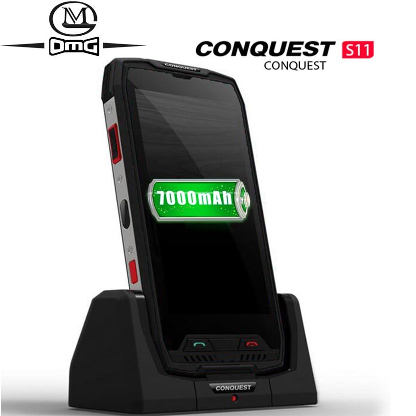 Conquista s11 7000 mah ip68 impermeável à prova de choque 4g smartphone 6 gb + 128 gb nfc otg telefones celulares android 7.0 telefone móvel áspero