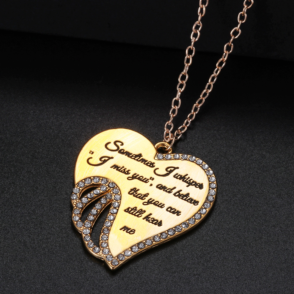 Elegant Silver Gold Color Angels Wing Love Chain Pendent Necklaces Women Jewelry