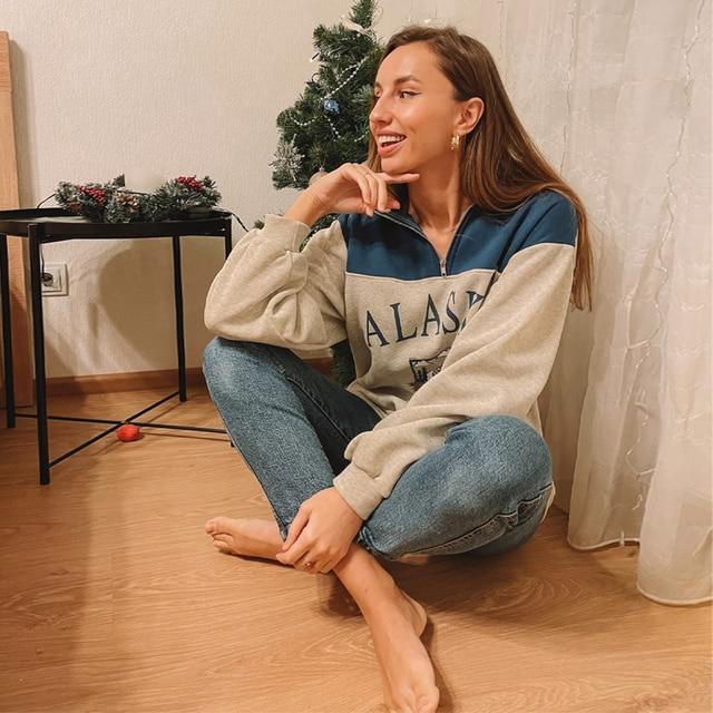 GOPLUS Women Hoodie Collar Sweatshirts Stand Half Zipper Letter Printing Long Sleeve Sweatshirts Vintage Casual Plus Size Hoodie 5