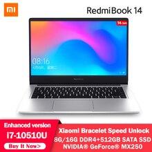 الأصلي شاومي RedmiBook المحمول برو 14 بوصة Mi نسخة محسنة i7 10510U MX250 16 جيجابايت/8 جيجابايت DDR4 512 جيجابايت SSD ويندوز 10 دفتر