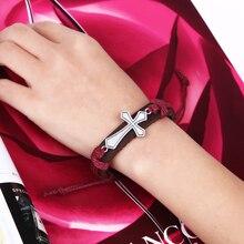 цена на New Hot Bracelet For Women Men Jewelry Handmade Braid Genuine Leather bracelet Wrap Charm Cross Bracelets Fine Jewelry