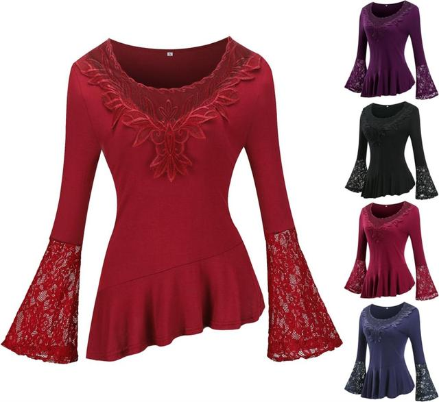 Fashion Lace Blouses Flare Sleeve Shirts For Womens Tops Shirt Plus Size Women Clothes Irregular 2019 Blusas Female 5xl 4xl 3xl 6