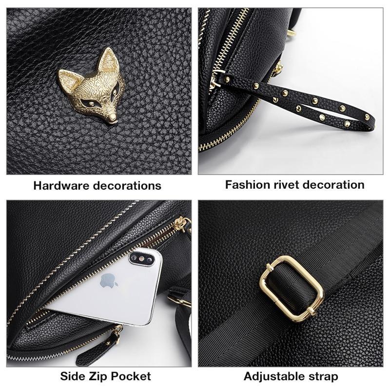 Foxer Neusty Genuine Leather Women Backpack Black