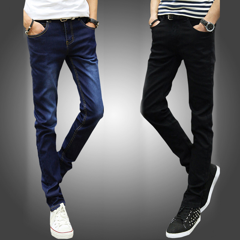 Elasticity Spring And Summer Autumn Men With Holes Jeans Slim Fit Pants Casual Straight-Cut Pants Men's Korean-style Trend Fashi