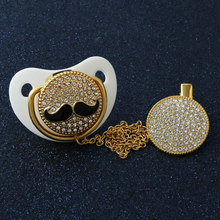 Luxurious Funny Baby Mustache Bling Pacifier Soothie Essentials Pearl Crystal Sparkly Soother Chain Dummy Nipple