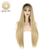 ZigZag Ombre Brown #4/#27 Side Part Synthetic Lace Front Wigs for Women Glueless Straight Daily Wear Heat Resistant Fiber Hair(China)