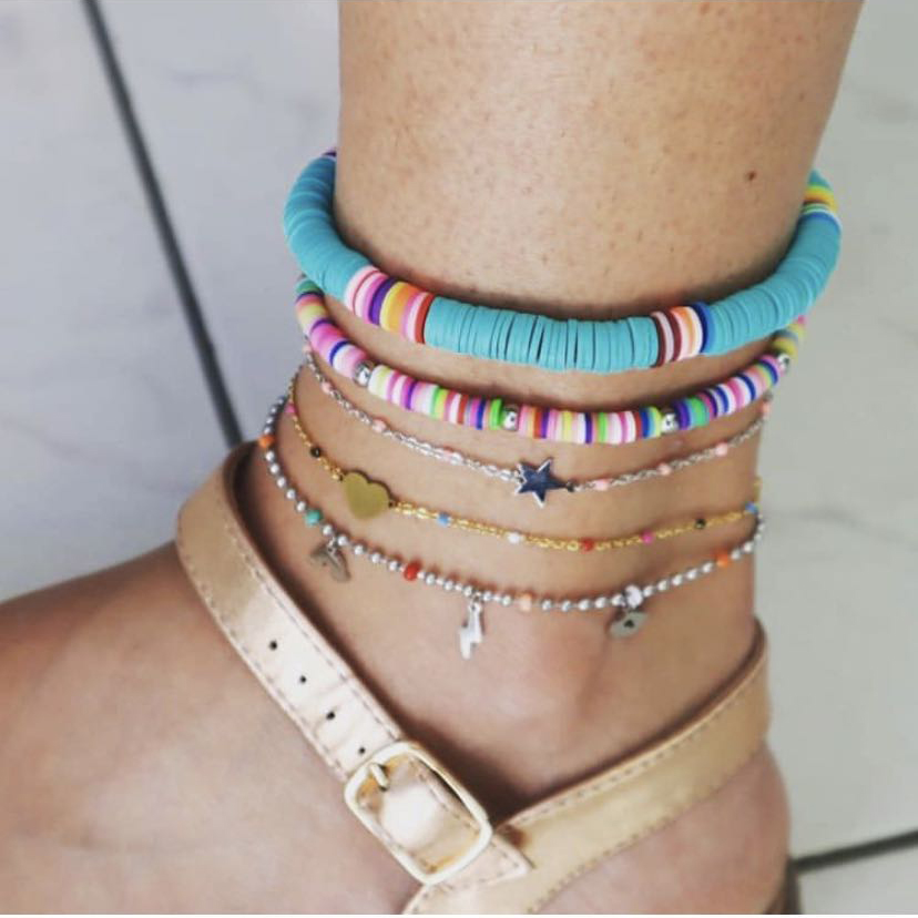 Bohemian Colorful Polymer Clay Discs Anklet for Women 2020 Handmade Elastic Summer Ocean Beach Ankle Bracelet Foot Leg Jewelry
