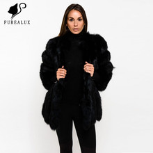 2019 New Whole Skin Natural Real Fox Fur Coat Womens Winter Luxury Coats Thick Warm High Quality Russian Outerwear Clothing
