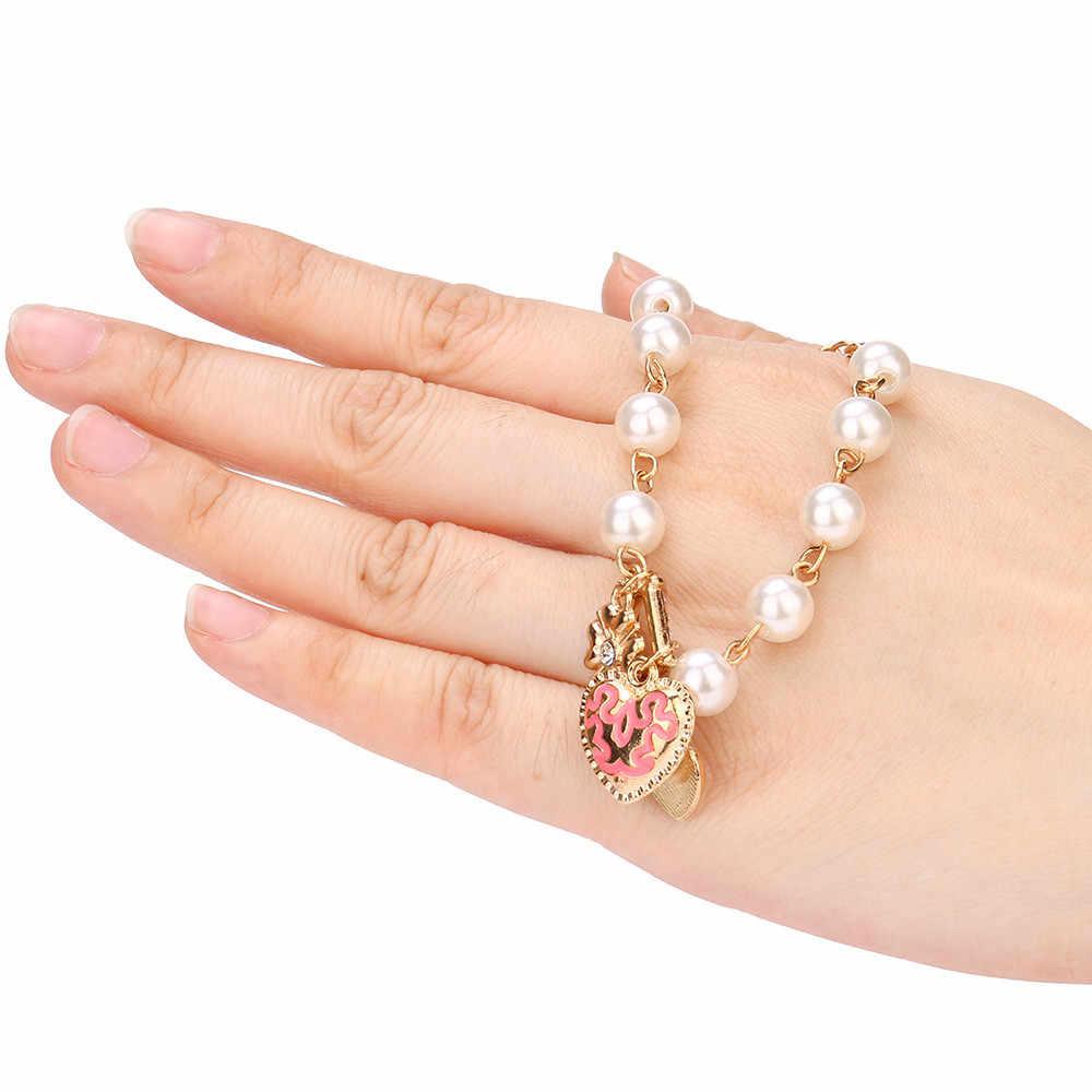High-End แฟชั่นผู้หญิงสร้อยข้อมือไข่มุกหัวใจรักดอกไม้คริสตัลสร้อยข้อมือแฟชั่นสร้อยข้อมือ Charm ของขวัญ