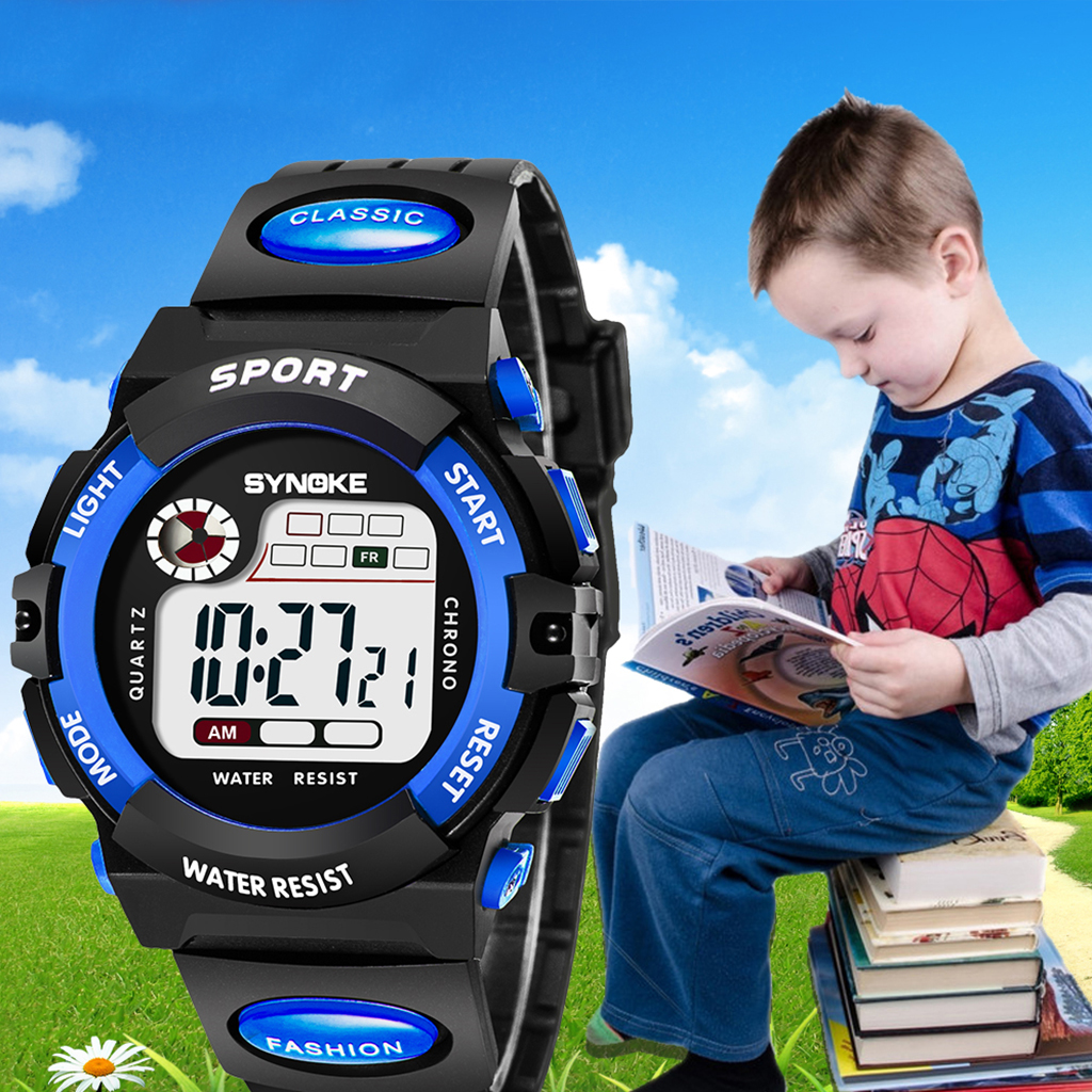 SYNOKE Sports Digital Watch Children Waterproof LED Display Repeater) Student Wrist Watches Boys Girls Gifts Boys Kids Watch
