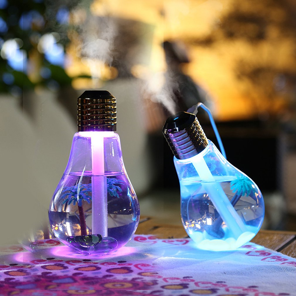 Two Generation Bulb Usb Humidifier Mute Moisture Color Discoloration Mini Desktop Air Purifier Spray Replenishment