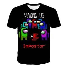 T-Shirt Children Among Us Impostor Cartoon Summer Tops Game Graphic Funny Kawaii Hip-Hop