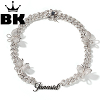 12mm Custom Art Font Zircon Cuban Link Butterfly Necklace Gold Silver Plated Luxury Copper Micro Paved CZ Cuban Joining Chain