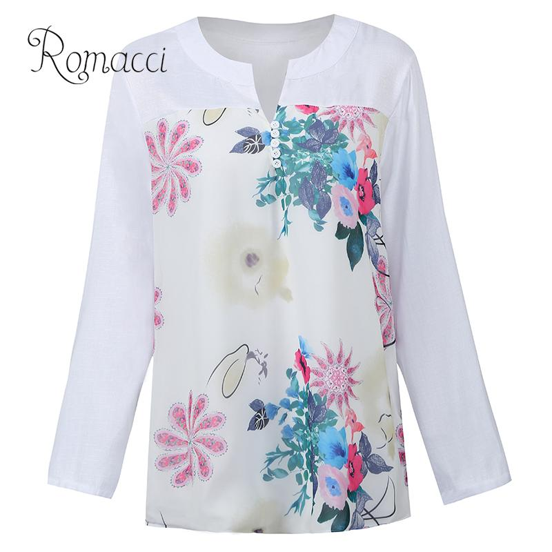 Vintage Blouse Women Linen Colorful Floral Print Women Blouse Casual V Neck Buttons Low High Irregular Hem Swing Female Shirt