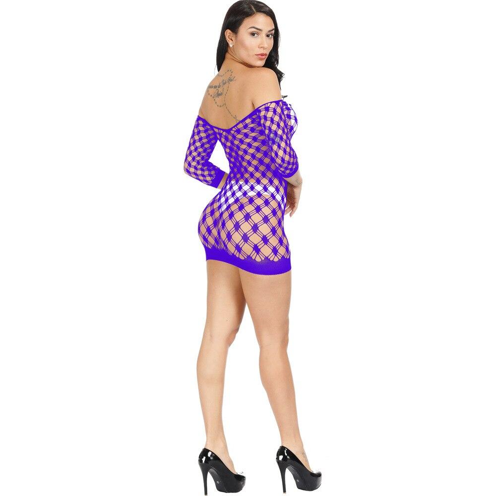 Fishnet iç çamaşırı esneklik pamuk Lenceria seksi iç çamaşırı sıcak kadınlar seks kostümleri örgü bebek bebek elbise erotik iç çamaşırı