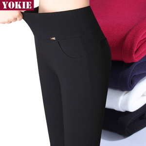 Image 2 - S 6XL winter warm 2018 high Elastic Waist Casual stretch Skinny Pencil Pants Women trousers Plus size Clothing Female Leggings