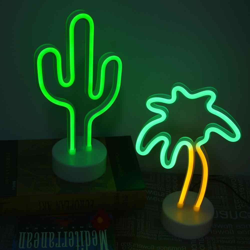 Flamenco Cactus neón señal de luz USB 12V Arco Iris Led Bombilla hogar dormitorio armario estudio mesita de noche decoración lámpara de noche