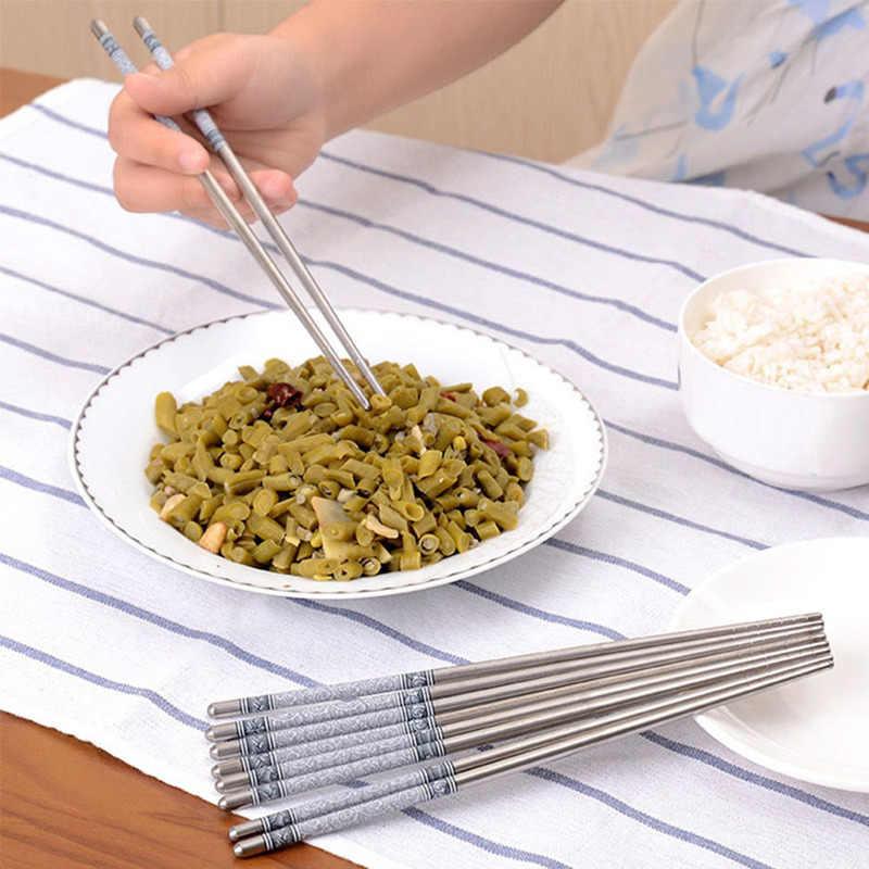 5 أزواج دائم الغذاء عصا التقليدية الصينية نمط الأزرق و الأبيض الخزف نمط أعواد طعام ستانلس ستيل كوري المائدة هدايا