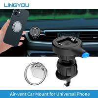 LINGYOU-soporte tipo cerradura para teléfono de coche, Clip para rejilla de ventilación, soporte de teléfono para GPS, iPhone 11 XS Samsung Huawei