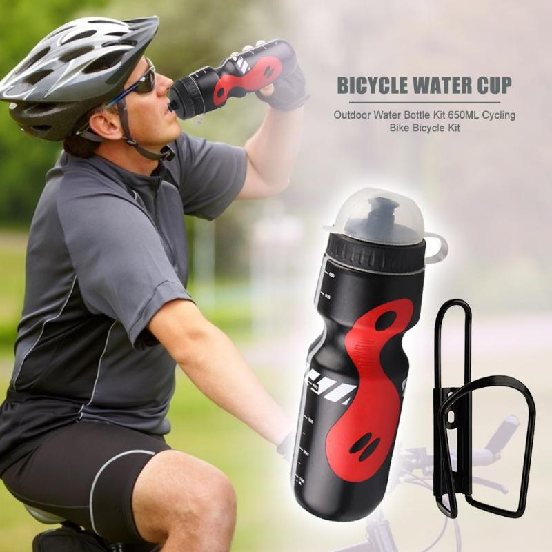 Durable Bicycle Water Bottle Wear-resistant Mountain Cycling Sport Outdoor Water Bottle Kit 650mL Water Kettle + Holder Rack
