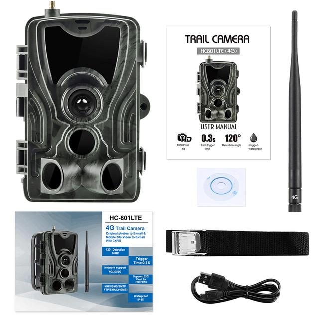 HC-801LTE 4G Hunting Camera FTP SMTP MMS 20MP 1080P Wireless Cellular Wildlife Camera 0.3s IR Night Vision Hunting Cam IP65