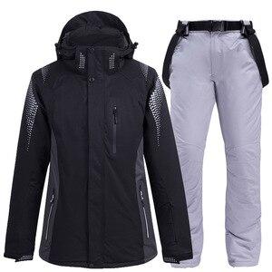 Image 2 - Новинка 2020, теплый зимний лыжный костюм для мужчин и женщин, ветрозащитный водонепроницаемый костюм для катания на лыжах и сноуборде, куртка и брюки, мужской костюм для снега