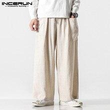 INCERUN, хлопок, Мужские Широкие штаны, одноцветные, с карманами, уличные, с эластичной талией, длинные штаны, джоггеры,, винтажные, свободные, повседневные брюки для мужчин