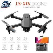 2021 nova xt6 mini zangão com 4k hd câmera profissional wifi pressão de ar altitude hold dobrável quadcopter rc helicóptero brinquedos