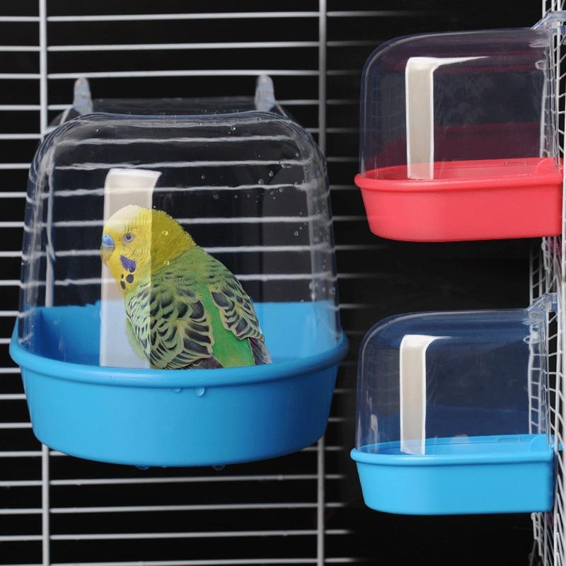 1 pçs plástico pássaro água caixa de banho banheira chuveiro caso papagaio para paraqueet finch pet gaiola pendurado tigela birdbath pássaro suprimentos