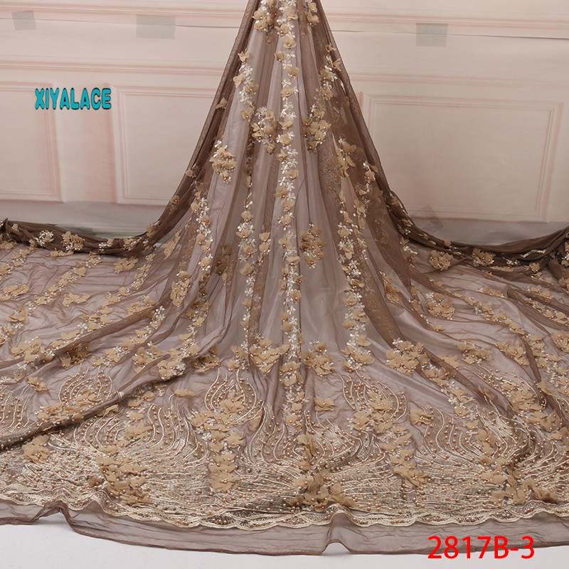 Nigerian Beaded 3D Lace Fabric 2019 High Quality African Net Lace Fabric Wedding French Tulle Lace Material For Dress YA2817B-3