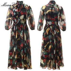 Image 2 - MoaaYina ファッションデザイナードレス春夏の女性の襟フルーツプリントエレガントなシフォン滑走路ドレス