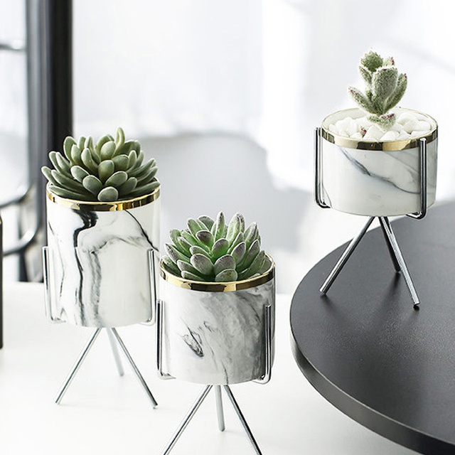 Nordic Ceramic Iron Art Vase Marble Pattern Rose Gold Silver Tabletop Green Plant Pot Home Office Vases Decorative 3