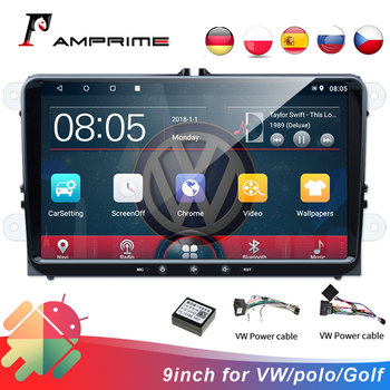 AMPrime Car Multimedia player Android 2Din For VW/Volkswagen/Golf/Polo/Tiguan/Passat/b7/b6/leon/Octavia Car Radio GPS BT Audio image