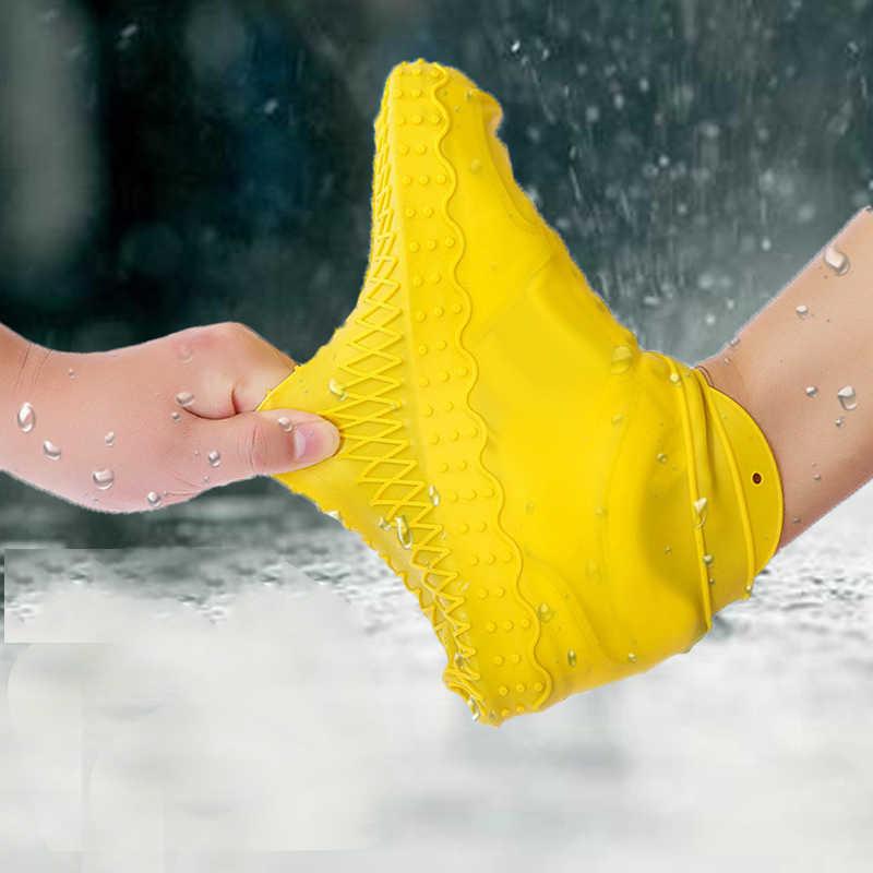 Silikon açık kaymaz su geçirmez ayakkabı kapakları taşınabilir yağmur çizmeleri yağmur geçirmez ayakkabı koruyucu erkekler kadınlar gençler anti-kum ayakkabı kapağı
