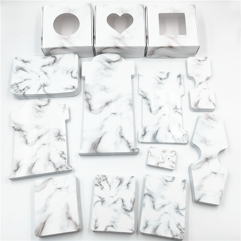 50pcs Paper Marble Packaging Jewelry Cards Clear Window Gift Boxes Necklace/Earring Hair Clip Displays Cards Jewelry Set Cards