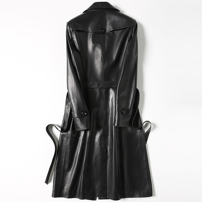 Leather Really Elegant Coat Women Black Wine Long Windstop Track Autumn Double Button Sheepskin Coat Women