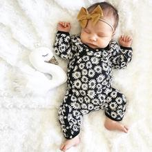 купить 2019 New Arrivail Cute Newborn Infant Baby Boy Girl Long Sleeve Sunflower Floral Romper Jumpsuit Outfits Clothes по цене 764.64 рублей