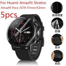 5 pièces souple protection plein écran en TPU pour Xiaomi Huami Amazfit Stratos 2 2S Pace GTR 47mm 42mm Sport montre intelligente garde Film couverture